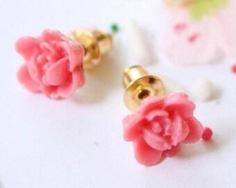 Little Pink Rose Earrings