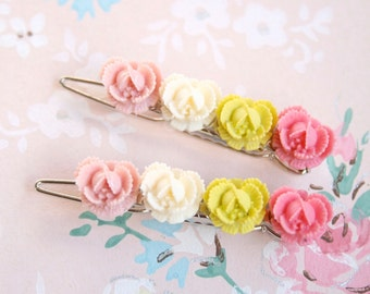 Garden Rose Barrettes