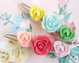 Rosy Spring Barrettes