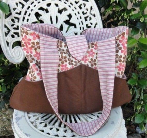 Diaper Bag - Tote -  Handbag - Chocolate and Pink