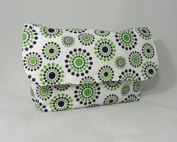 Diaper Clutch . Changing Pad . Diaper and  Wipes Holder . Purple Green
