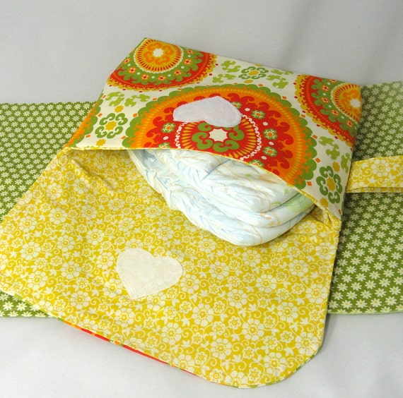 Diaper Clutch with Pad . Diaper Changing Cluch . Diaper and  Wipes Clutch