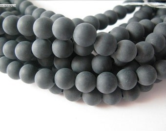 10mm round 16inch long matt onyx beads