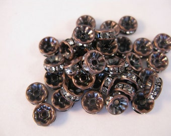 antique copper with rhinestone spacer 25 pieces 8mm
