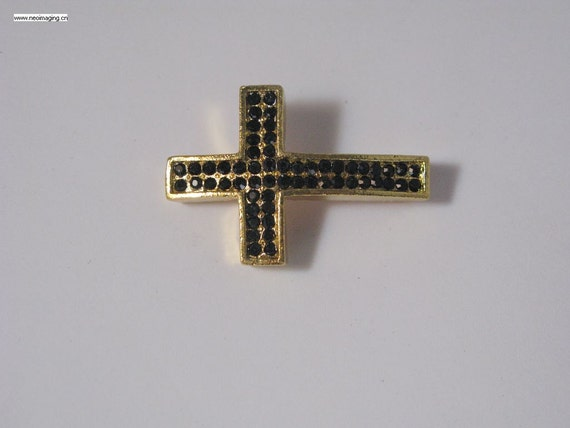 3 pieces gold plated with black crystal pave cross pendant