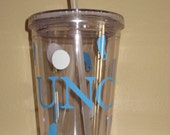 double wall tumbler with screw top and straw