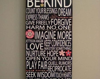 ABC's of Life Canvas Gallery Mount Accept Differences 8x20 Motivational