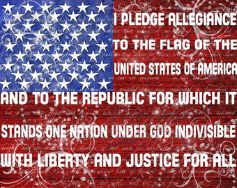 Pledge of Allegiance Word Art Print - 11x14 - patriotic United States Independence Day 4th of July - ready to frame