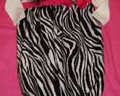 zebra and hot pink infant gown with matching headband