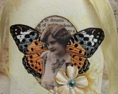 Spring Buttercup Yellow Vintage French Girl with Butterfly Wings Altered Art Miniature Collage/Ornament