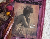 Gypsy Dreams Hand Dyed Fabric Rag Journal with Vintage Ribbons/Fiber Yarns Artstamping in Amethyst