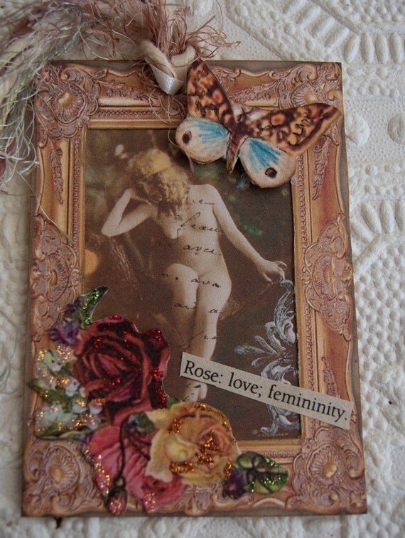 French Blonde Nude Postcard Art Tag Collaged with Gold Frame/Roses/Butterfly/Vintage Dictionary Words