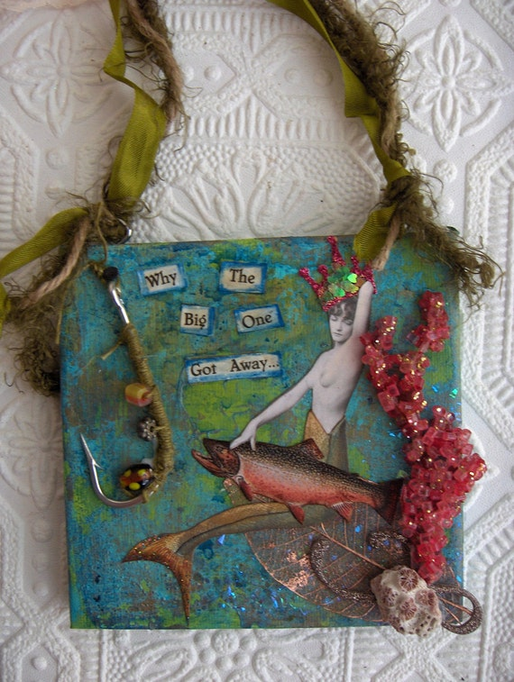 Mermaid Queen of the Sea Collage Mixed Media Wall Art with Vintage Elements