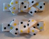 Yellow Black and White Polks Dots Single Bow Alligator Hair Clip Set Baby Girl Toddler Fully Lined Grosgrain Ribbon