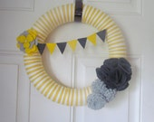 You Are My Sunshine Grey and Yellow and Silver Yarn Wreath With Peony Flower and Felt Pom Pom Flowers Gray and Yellow Bunting Banner