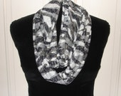 Infinity scarf in soft black and white animal print