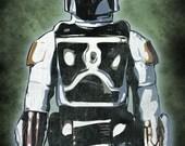 Vintage Star Wars Boba Fett Pop Art Print 5 x 7