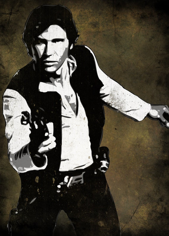 items similar to han solo from star wars pop art print 5 x 7 on etsy. Black Bedroom Furniture Sets. Home Design Ideas