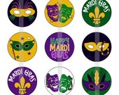 "Mardi Gras - one 4x6 inch digital sheet of 1"" round images"