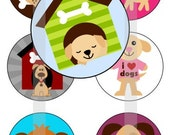 "Cute Doggies - one 4x6 inch digital sheet of 1"" round images for bottlecaps, magnets, glass tiles, pendants"