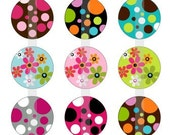 """Flowers and Polka Dots- one 4x6 inch digital sheet of 1"""" round images for bottlecaps, glass tiles, stickers etc"""