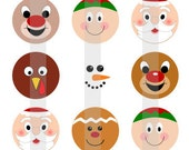 "Holiday Faces - one 4x6 inch digital sheet of 1"" round images for bottlecaps, magnets, glass tiles, pendants etc"