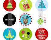 "Merry Christmas 1- one 4x6 inch digital sheet of 1"" round images for bottlecaps, magnets, glass tiles, pendants etc."