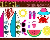 Summer Fun 1 - Digital Clipart - Perfect for scrapbooking, cards etc