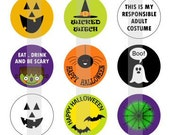 "Happy Halloween- one 4x6 inch digital sheet of 1"" round images for bottlecaps, glass tiles and magnets"