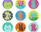 "Meow - one 4x6 inch digital sheet of 1"" circle images for magnets, pendant trays, glass tiles, stickers etc."