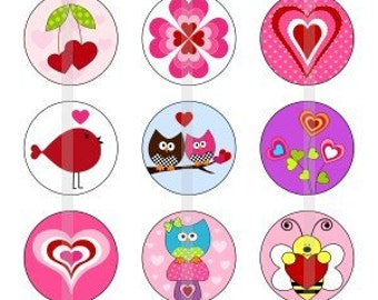 "Love is in the air - one 4x6 inch digital sheet of 1"" round images for bottlecaps, glass tiles, pendants"