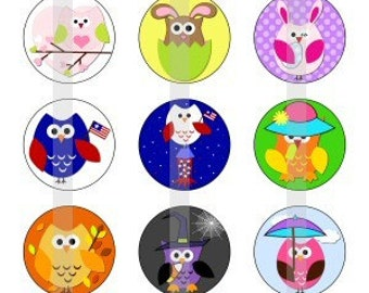 "Owls For All Seasons - one 4x6 inch digital sheet of 1"" round images for bottlecaps, magnets, glass tiles, pendants etc"
