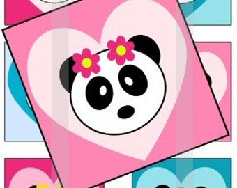 """Panda Love- one 4x6 inch digital sheet of 1"""" square images for magnets, glass tiles, stickers etc."""