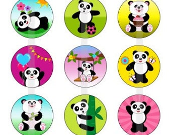 """Panda World - one 4x6 inch digital sheet of 1"""" round images for bottlecaps, magnets, glass tiles, pendants"""