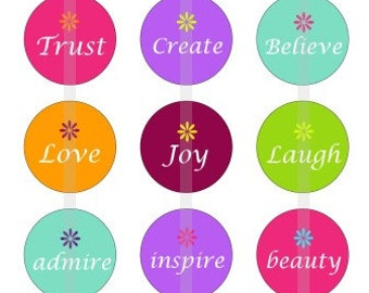 "Inspirational - one 4x6 inch digital sheet of 1"" round images for bottlecaps, glass tiles, stickers etc"