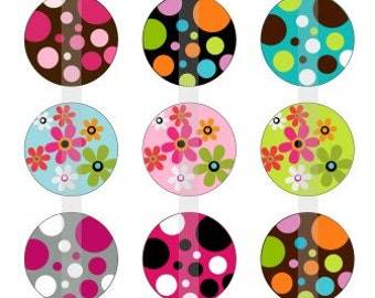 "Flowers and Polka Dots- one 4x6 inch digital sheet of 1"" round images for bottlecaps, glass tiles, stickers etc"