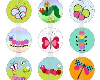 """Spring Critters - one 4x6 inch digital sheet of 1"""" round images for bottlecaps, magnets,etc"""