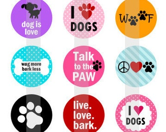 "I heart Dogs - one 4x6 inch digital sheet of 1"" round images for bottlecaps, magnets, glass tiles, pendants"