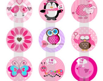 "Valentine Pals - one 4x6 inch digital sheet of 1"" round images for bottlecaps, glass tiles, pendants"