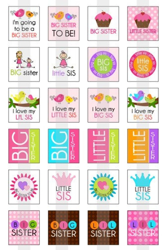 Sisters - Big Sister, Little Sister - one 4x6 inch digital sheet of scrabble size (0.75 x 0.83 inches) images for scrabble tiles