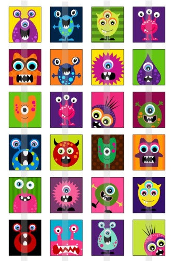 Monsters - one 4x6 inch digital sheet of scrabble size (0.75 x 0.83 inches) images for scrabble tiles