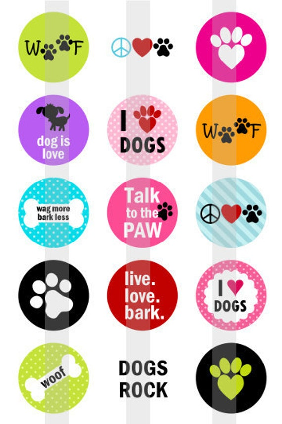 """I heart Dogs - one 4x6 inch digital sheet of 1"""" round images for bottlecaps, magnets, glass tiles, pendants"""