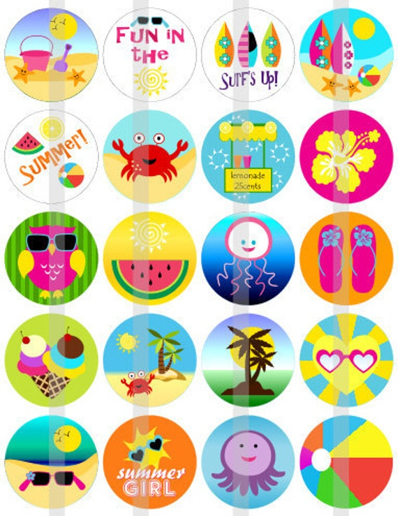 Summer Fun - one 8.5x11 inch digital sheet of 2x2 inch round images for glass tiles, cake toppers, magnets etc