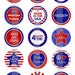 """Happy 4th of july 2- one 4x6 inch digital sheet of 1"""" round images for bottlecaps, magnets, glass tiles, pendants etc."""
