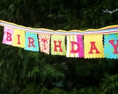 Happy Birthday Banner mini fabric party banner, photo prop, small space decoration