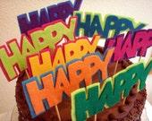 "Cake Topper ""Happy"" Whimsical Custom Colors"