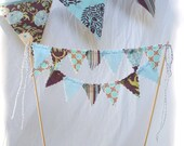 Cake Bunting - Tiffany Blue and Plum Brown- Wedding, Birthday, Party