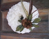 Winter Wreath White Paper, brown flower, feathers and grasses