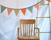 Bunting Flags Modern Prints Orange Houndstooth, Green, Turquoise and Red Fabric- large size LAST ONE
