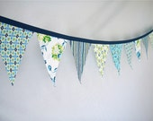 Fabric Bunting in Navy, Aqua and Lime Green- size medium